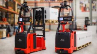 Autonome Stapler von Linde Material Handling mit Laser-Steuerungstechnologie.